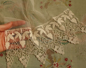 """11x10"""" Antique cotton grapes edwardian lace panel sample tulle  wedding dress flapper intricate pattern"""