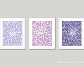 Modern Flowers Art Prints - Abstract Flower Wall Art -  Dahlia Wall Art - Dahlia Prints - Set of 3 - Home Decor - Lilac lavender Plum Purple