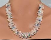LP 1221 Pink Freshwater Pearls, Aquamarine, Pink Tourmaline, Rose Quartz, Peridot, Green Amethyst And Blue Quartz Gemstone Necklace