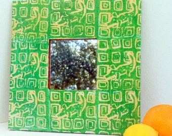 Green gator mirror square wall reuse vegan hand printed whimsical alligator design on yellow wide wood frame