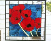 "Red Oriental Poppy Flowers--18"" x  18""--Stained Glass Window Panel"