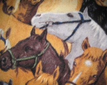 Horses with Black Handmade Fleece Blanket - Ready to Ship Now
