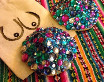 Gemstone Jigglers . Festive Nipple Pasties with hand painted gift bag