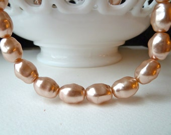 Vintage Pink Glass Pearls - 16x13mm - Coated Glass - Qty 30 pcs  (bgpo3)