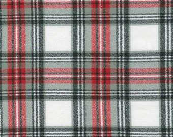 Red White Grey and Black Plaid Flannel, 1 Yard