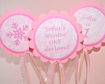 Snowflake Birthday Centerpiece Sticks - Pink Snowflake, Winter One-derland - Girls Birthday Party Decorations - Set of 3