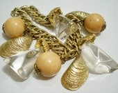 Vintage charm bracelet - Clam shell charms - Lucite nuggets - Wood beads - Goldtone - Eco friendly - cheesegrits