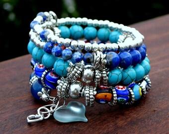 Painted Dreams - Memory Wire Bracelet