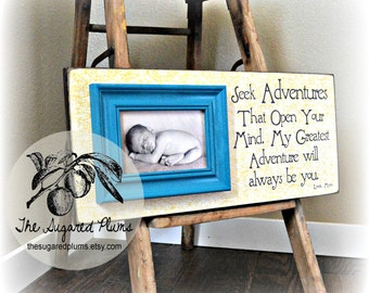 Personalized Baby Frame, Personalized Baby Gift, Baby Boy, Baby Girl, Yellow and Turquoise, 8x20The Sugared Plums