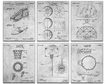 Basketball Blueprint Patent Six Panel Canvas Giclee  - 36x30