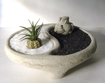 Yin Yang Bowl + Sweet Mini Pug Buddha and Air Plant Zen Garden