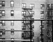 Sprinkles of Snow, New York City Photography Print, NYC Queens Wall Art, NYC Buildings Black and White