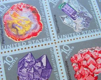 Gemstones Full Sheet of 48 UNused Vintage US Postage Stamps Mineral Heritage 10 c 1974 Amethyst Gem Stone Valentine's Save the Date Wedding