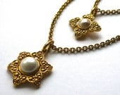 CHANEL Double Strand Faux Pearl Star Pendant Necklace