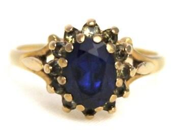 Vintage 9k Gold Blue Stone & Cubic Zirconia CZ Cluster Dress Ring 1970s 9kt 9ct 375 Carat - Size M.5 / 6.5