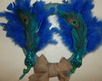 Peacock Wreath/Wall Hanging/ Teal and Cobalt Blue Peacock Feathers