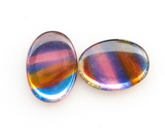 Unique 18x13mm STAINED GLASS Vintage Oval Cabochons from Western Germany, Psychedelic cabochons, 18x13 cabs, 18x13 ovals, Quantity 2
