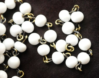 Vintage 6mm White Glass Beaded Chain with Antiqued Gold Plating, Rosary Chain, Sold by the Linear Foot