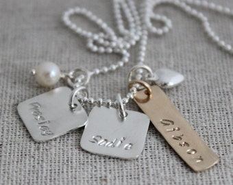 stamped names necklace, mixed metals necklace, push present, mothers necklace, grandmothers gift, 3 names necklace
