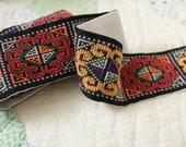 Vintage All Hand Done Cross Stitch Needlepoint Trim Hippie Clothing Guitar Strap