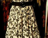 Fabulous NOS 50s Black and White Novelty Print Rockabilly Dress, L