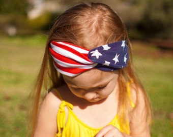 American Flag, Fourth of July Jersey Knit Knotted Turban Headband/Headwrap