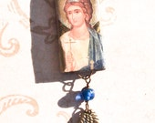 Guardian Angel Bamboo Pendant (blue and gold)