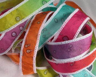 Hand Dyed Silk Ribbons -  Hand painted ribbons - Ribbon bracelet pendant Wrist wrap - Quintess - Groovy Sparkle