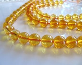 Citrine Beads in Golden Yellow, 7mm to 8mm, Round Translucent Gemstone, 1 Strand, 8 Inches, 23 Beads, GB356