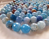 Crackle AGATE Beads Faceted in Blue, Cyan, Copper, and Amber Brown, 12mm, 1 Strand, Approx 32 Beads, GB311