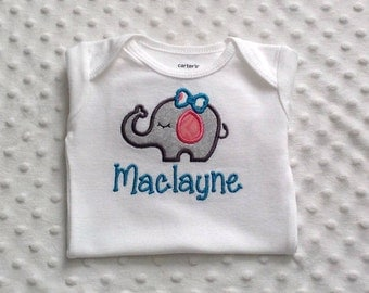 Baby Girl Personalized Onesie with Appliqued Elephant