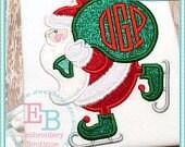 Skating Santa Monogram Appliqué Christmas Shirt - Personalized Embroidery