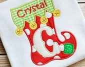 Personalized Christmas Stocking Alphabet Appliqué Shirt -  All Letters Available - Perfect for Pics with Santa!