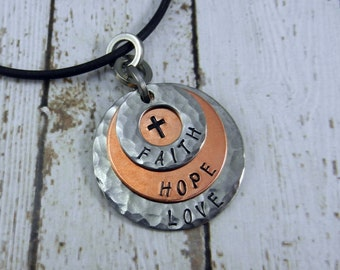 Faith, Hope, Love Hand-Stamped Necklace with Cross