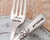 """Mr. & Mrs. Forks with Name / date, vintage wedding  """"Adoration"""" forks, hand stamped"""