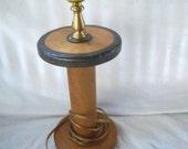 Vintage Industrial Yarn Rope Spool Repurposed Table Lamp