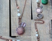 Antique Copper DIFFUSER necklace -  long antiqued copper design with stones and bird worked into the chain, with breathe pendant
