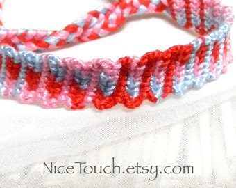 SUMMER SALE!!! Free Shipping or Save 20% ~ First Valentine's knotted cotton friendship bracelet ~ Ready to Ship