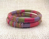 Pink Fiber Bangle Bracelet Set - Spring Meadow - Ready-to-Ship