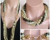 ON SALE: VERSATILE - Ashira 5 Strand Convertible Necklace with Kambaba Jasper, New Jade, Prehnite, Gp Chain & Yellow Chinese Turquoise