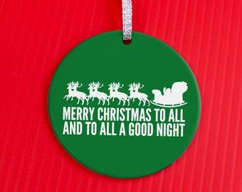 Holiday Ornament - Santa Sleigh Ornament -Merry Christmas - Christmas Ornament - classic  gift ornament  -co86