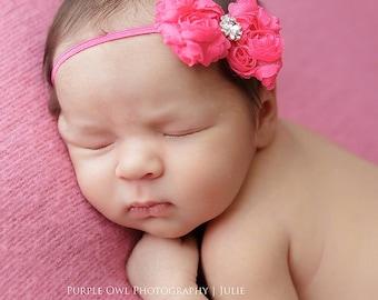 Hot pink baby headband,  infant headband, newborn headband, pink bow headband, photo prop, bright pink headband, baby hairband