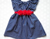 Navy Gingham Girl's Dress