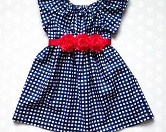 Girls Dress - Girls Fall Dress - Fall Dresses for Girls - Baby Girl Dress - Girls Navy Dress - Dresses for Baby - Navy Gingham Dress