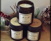 Winter Wedding Favors Christmas Wedding Decor - 25 Personalized Soy Candles