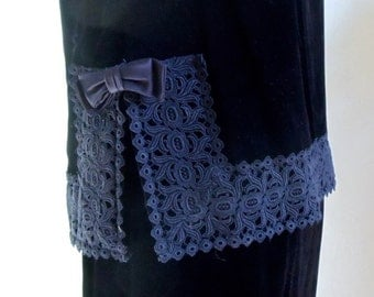 """Vintage 60's 2 Piece Black Velvet Dress Embellished with Thick Black Lace on Sleeveless Top Bust 38"""" Waist 26"""""""
