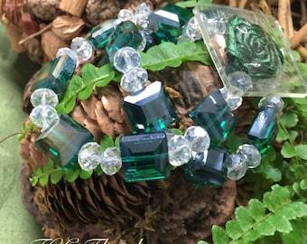 Corsage bracelet - Block Party Bracelet - Emerald (Green)