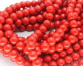 8mm Red Shell Pearl Beads - 16 Inch Strand