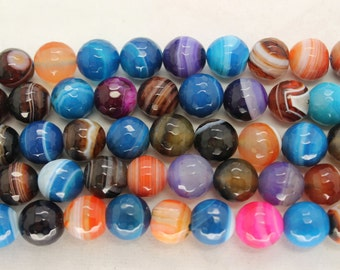 Beautiful Multicolor Lace Agate Faceted Round Gemstone Beads 10mm