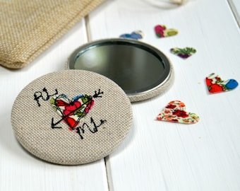 Pocket Mirror, Personalised, 4th Anniversary, 2nd Anniversary, Gift For Her, Wedding Mirror, Girlfriend Gift, Compact Mirror, Love Token